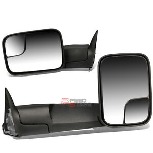 Black Manual Towing Mirrors W O Heated W O Signal For 94 02 Dodge Ram 2500 3500