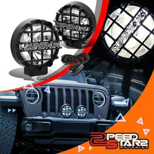 6 round Clear Lens Black Cover Bumper Bull Bar Grill Fog Light Lamps switch 4x4