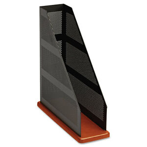Rolodex Distinctions Punched Metal Cherry Wood Magazine File 1813861