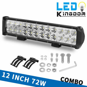 12 Inch 72w Led Work Light Bar Spot Flood Combo Beam Offroad Fog Driving Lights