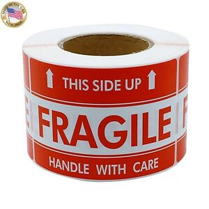 500 Labels 2x3 Fragile This Side Up Shipping Mailing Handle With Care Stickers