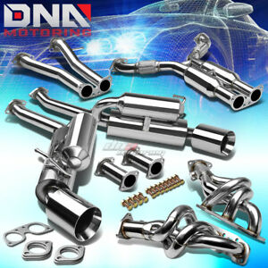 4 5 Dual Rolled Tip Stainless Exhaust Manifold Header Catback System For Z33 V35