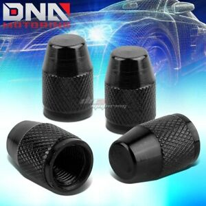4 X Aluminum Metal Black Tire Rim Valve Air Port Dust Cover Stem Cap Caps Rt007