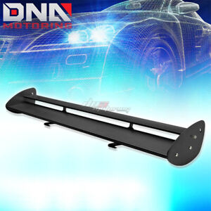 Gt Style 43 Powder Coated Trunk Low Mount Double Deck Racing Spoiler Wing Black