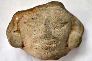 Ancient Authentic Zapotec Pre Columbian Clay Carved Head Face