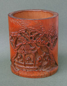Antique Chinese Carved Bamboo Brush Pot French Flea Market Find