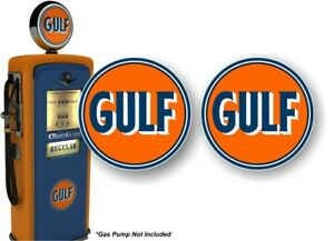 2 Vintage 1960 s Style Gulf Gasoline Gas Station Pump Decals Oil Sign Stickers