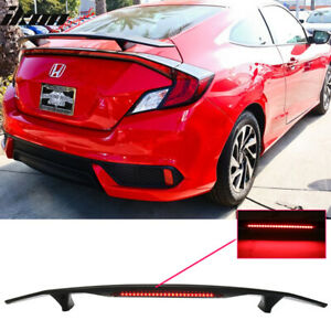 Fits 16 18 Civic Coupe 2dr Trunk Spoiler Si Sport Wing Led Glossy Black Abs