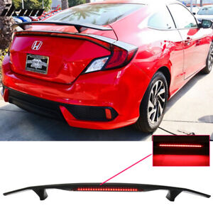 Fits 16 20 Civic Coupe 2dr Trunk Spoiler Si Sport Wing Led Glossy Black Abs