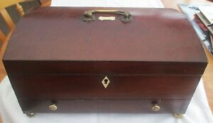 Antique Georgian Wooden Domed Deed Box With Pull Out Drawer And Bone Inlay