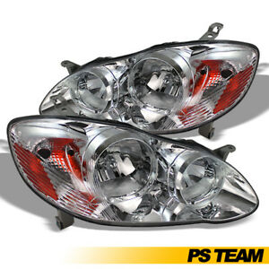 Headlight Set For 2003 2004 2005 2006 2007 2008 Toyota Corolla Headlight Lamps