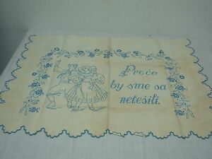 Antique Linen Pillow Cover Embroidered Preco By Sme Sa Netesili Dancing Couple
