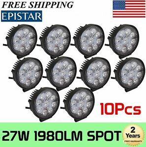 10x27w 5inch Spot Round Led Work Light Offroad Fog Driving Drl Suv Atv Truck 4wd