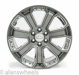 4 New Chevy Suburban Tahoe Gunmetal Chrome Inserts 22 Wheels Rims Lug Nuts 5660