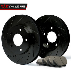 2003 Ford Focus Non Svt black Slot Drill Rotor Ceramic Pads F