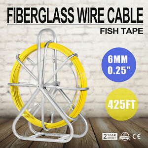 426ft Fish Tape Fiberglass Wire Cable Running Rod Duct Rodder Puller 6mm 130m