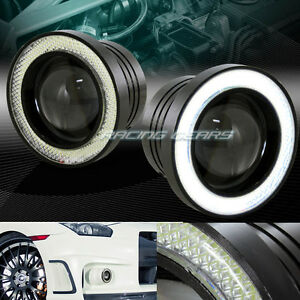 3 Round White Cob Drl Led Halo Projector Fog Driving Lights Lamp Kit Universal