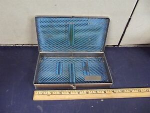 9 X 5 Alcon Surgical Sterilization Tray in Good Condition locks Down s2681x