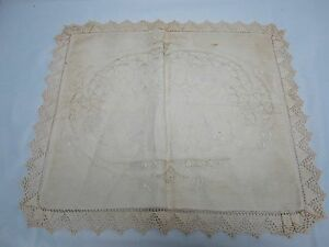 Vintage Linen Dresser Scarf Pillow Cover W Cutwork Puppies Crochet Edge 18