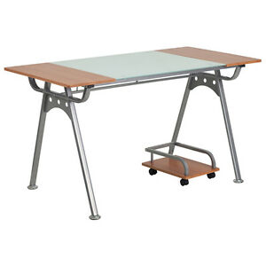 Flash Furniture Computer Desk Executive Office Table Glass Cherry Laminate Top