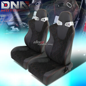 2 X Red Square Trim Black Sports Racing Seats Mounting Slider Rails Left Right