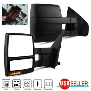 Pair Tow Mirrors For 04 06 Ford F150 Power Heated Puddle Lights Led Turn Signals