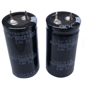 Us Stock 2pcs Electrolytic Capacitors 3300uf 3300mfd 100v 105 Radial 25 X 50mm