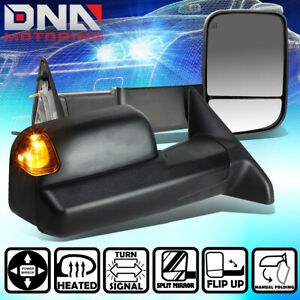For 09 16 Dodge Ram Power Heated Led Signal Light Rear View Towing Mirror Pair