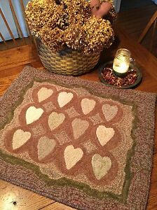 Primitive Hooked Rug Pattern On Monks Antique Adaptations 12 Hearts