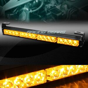 18 Led Amber Traffic Advisor Emergency Warn Flash Strobe Light Bar Universal 8