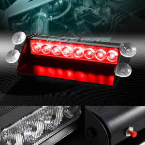 8 Led Red Emergency Car Truck Suv Dashboard Warning Flash Strobe Light Bar