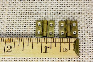 2 Very Tiny Small Brass Hinges Old Door Butt 1 2 X 1 2 Antique Vintage Narrow