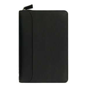 Filofax Nappa Zip Organizer Personal Black Leather
