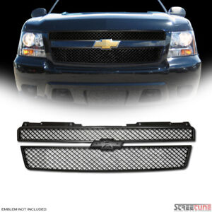 For 07 14 Tahoe Suburban Avalanche Matte Blk Mesh Upper Front Hood Grill Grille
