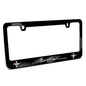 Ford Mustang Script Dual Logos Black Metal License Plate Frame Made In Usa