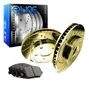 2012 2016 Ford Focus Rear Gold Drilled Slotted Brake Disc Rotors