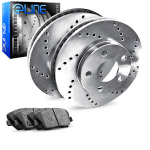 2012 2016 Ford Focus Rear Eline Drilled Brake Disc Rotors Ceramic Brake Pads