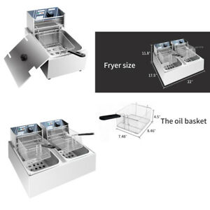 Commercial 6l 11l 12l 5000w Electric Countertop Deep Fryer Dual Tank Basket