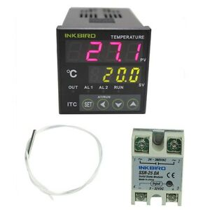 Inkbird 12 24v Digital Pid Temperature Controller Thermostat 25a Ssr Pt100 Probe