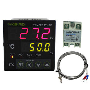 Itc 100vl 12 24v Digital Temperature Temp Controller Pid K Sensor Probe 40da Ssr
