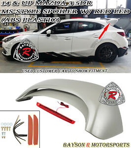 Ms style Rear Roof Spoiler abs Red Lens Leds Fits 14 18 Mazda 3 Hatch 5dr
