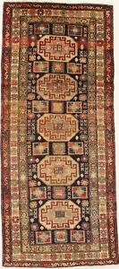 Geometric Runner Semi Antique Meshkin Persian Rug Oriental Area Carpet Sale 4x10