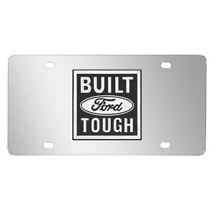 Ford Built Ford Tough 3d Logo Chrome Stainless Steel License Plate Made In Usa