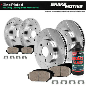 Front rear Drilled Slotted Brake Rotors And Ceramic Pads Kit For Kia Forte