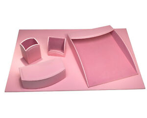 Darby Home Co Hinsdale 5 Piece Leatherette Desk Set Cameo Pink