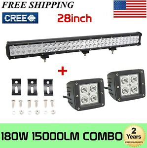 36inch 234w Cree Led Work Light Bar Flood Spot Combo Offroad 4wd Lamp wiring Kit
