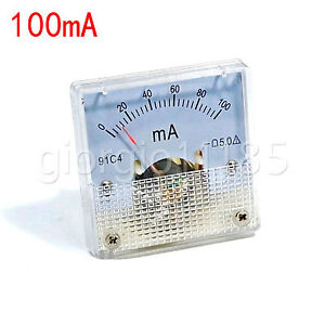 Us Stock Dc 0 100ma Analog Amp Current Pointer Needle Panel Meter Ammeter 91c4