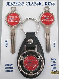 Red Dodge Charger Deluxe Classic White Gold Keys Set 1970 1971 1972 1973 1974
