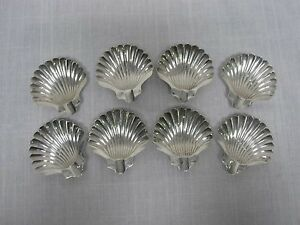 Set Of 8 Napier Sterling Silver Footed Shell Ashtrays