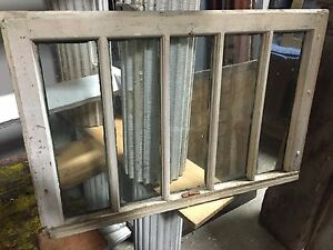 Unique Circa 1920 Mission Style 5 Pane Window Frame Sash 32 X 21 5 X 18 Gls